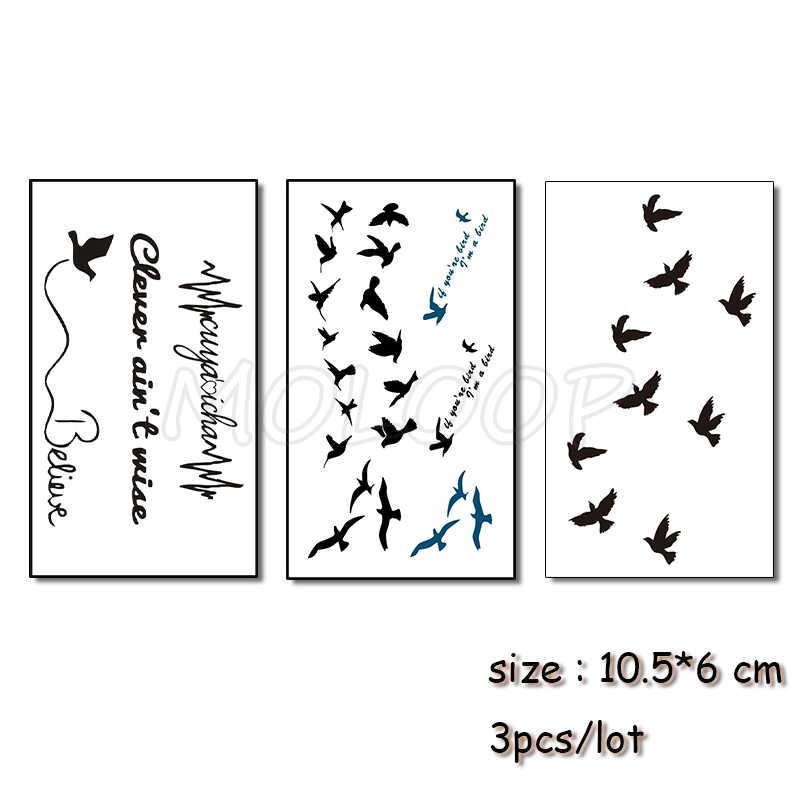 تاتو أسود على هيئة الذراع للرجال والنساء 3 قطعة 10.5*6 سم مقاوم للماء المؤقتة الطيور رسالة شريان الحياة نقل المياه الوشم