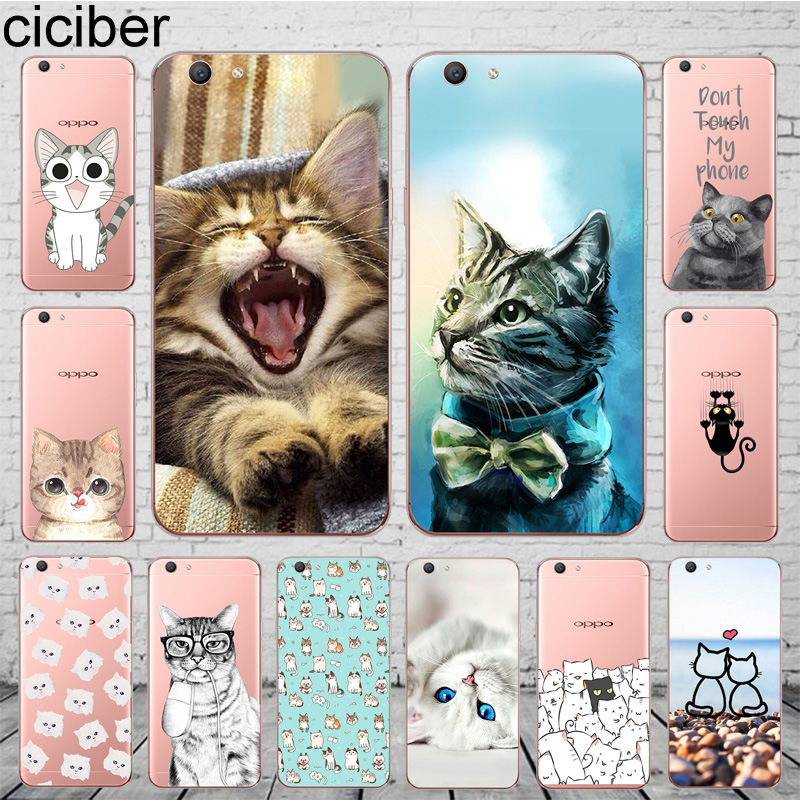 ciciber Coque Cover For <font><b>OPPO</b></font> A37 <font><b>A39</b></font> A57 A59 A83 A5 A7 AX7 A3S F1S F11 F5 Youth Phone <font><b>Case</b></font> Soft Silicone Shell Cute Animal Cat image