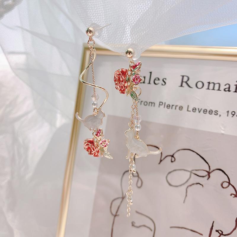 Ornate Flowers Beautiful Cat Earrings