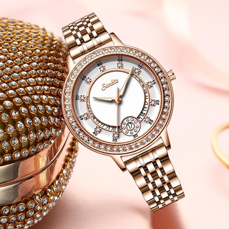 Ladies Watch Luxury Brand Diamond Quartz Gold