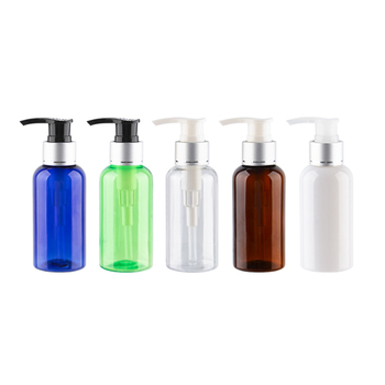 Empty Refillable Lotion Pump Bottle With Silver Aluminum Collar 75ml DIY Containers 75cc Capacity Small Containers For Cosmetics