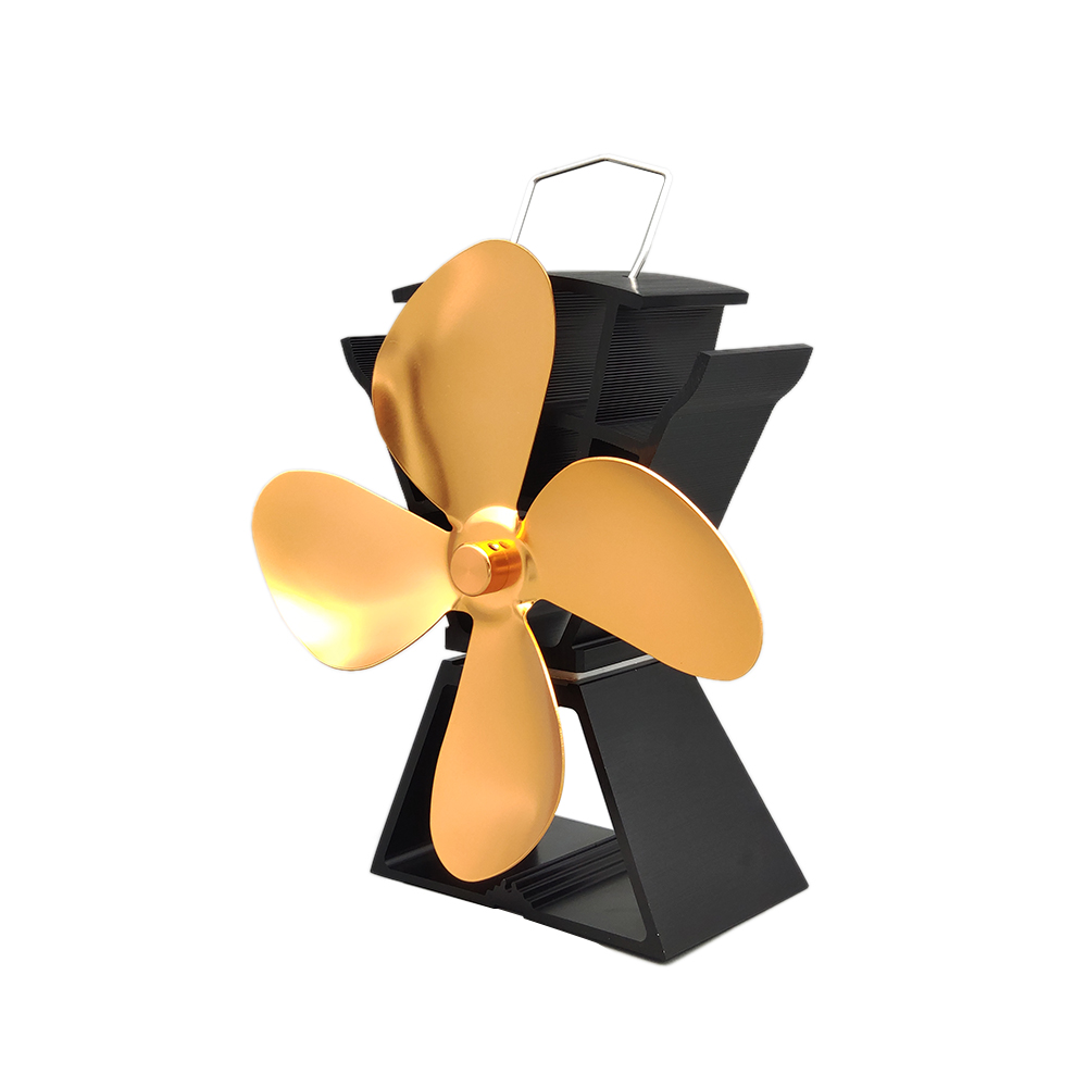Household Quiet Fireplace Fan 4 Blade Heat Powered Stove Fan Home Efficient Heat Distribution Warm Winter Fireplace Parts