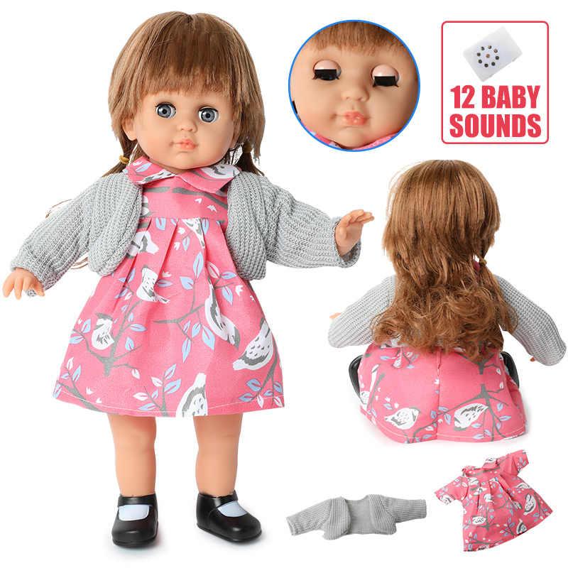 Lifelike reborn boneca 14 polegada silicone macio longo cabelo moda bebe bebê 36cm simulação de som vestido boneca para brinquedos meninas presente