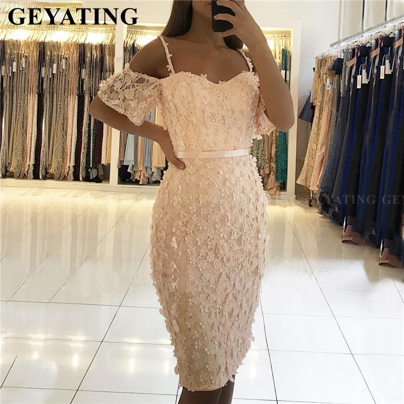 Blush Pink Lace   Cocktail     Dresses   with Sleeves 3D Floral Appliques Pearls Knee Length Short Homecoming   Dress   2019 Off Shoulder
