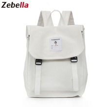 Zebella 2019 Summer New Style Backpack College Students School Bag  Solid Color High Teenagers Large Capacity