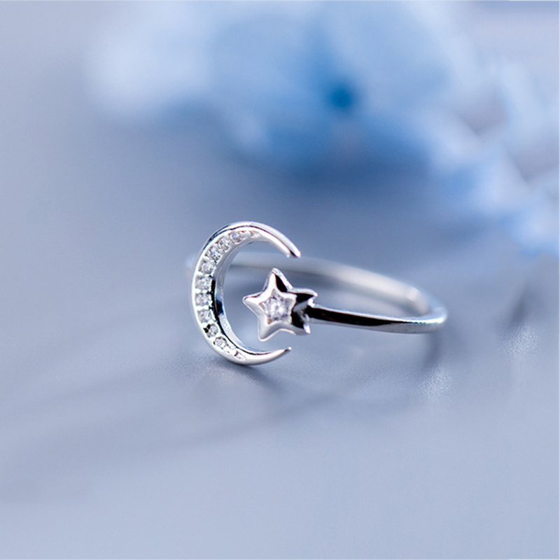 Real 925 Sterling Silver Minimalist Zircon Moon Star Opening Ring For Charming Women Party Fine Jewelry Cute 2019 Gift