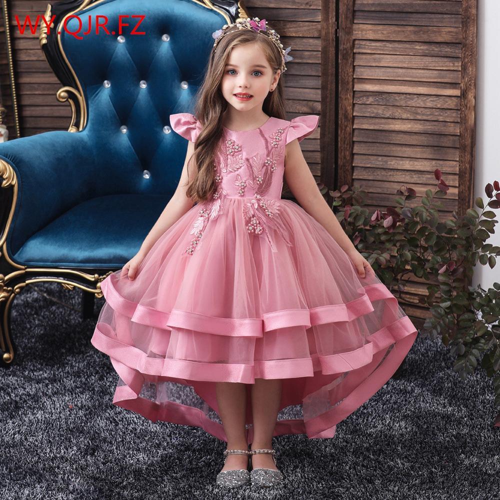 BH-5018#Girl's Wear Flower Boy Dress Christmas Wedding Party Dresses Bean Powder Green Burgundy Children's Garments Wholesale