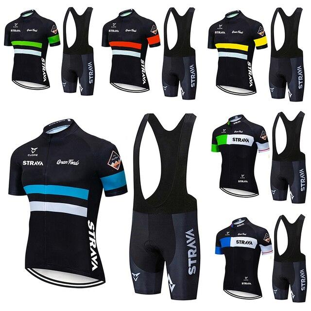 2021 strava pro equipe de verão conjunto camisa ciclismo bicicleta roupas respirável dos homens manga curta camisa bib shorts 1
