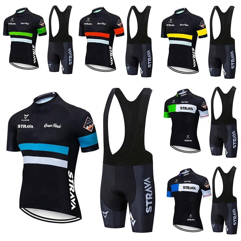 Комплект одежды для велоспорта STRAVA Pro, летняя дышащая мужская рубашка с коротким рукавом, велосипедные шорты с нагрудником, 2021