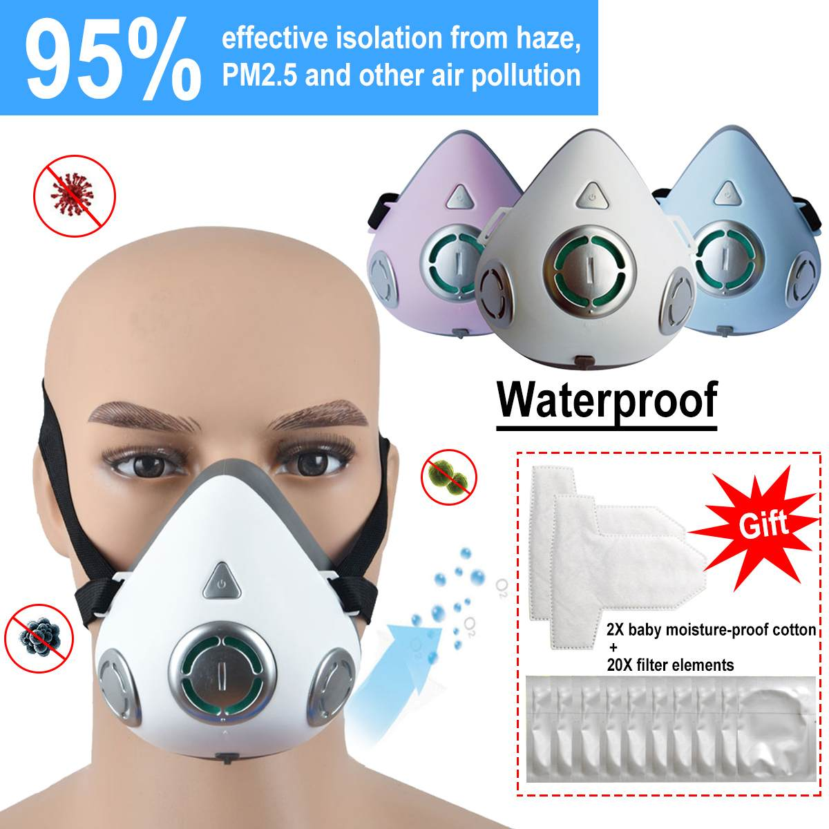 Waterproof Electric Face Mask Reusable Anti Dust PM2.5 Respirator Mask Adjustable Strap Masks With 20pcs Filter Pad