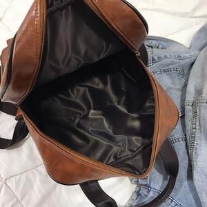 Image 5 - Women Backpack Female Fashion Pu Leather Backpack School Backpacks for Teenagers Girls Vintage Student Book Bags Retro Rucksack