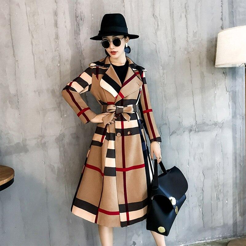 Plaid Trench Coat Women's Mid length 2019 Autumn And Winter New Style Korean style Big Brand Elegant Retro Waist Hugging Coat CH on AliExpress