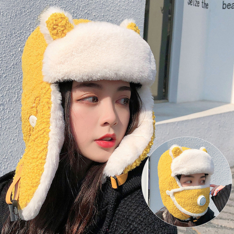 HT3375 New Fashion Russian Hat Thick Warm Lamb Wool Winter Hat with Mask Women Cute Ski Earflap Trapper Cap Ladies Bomber Hat