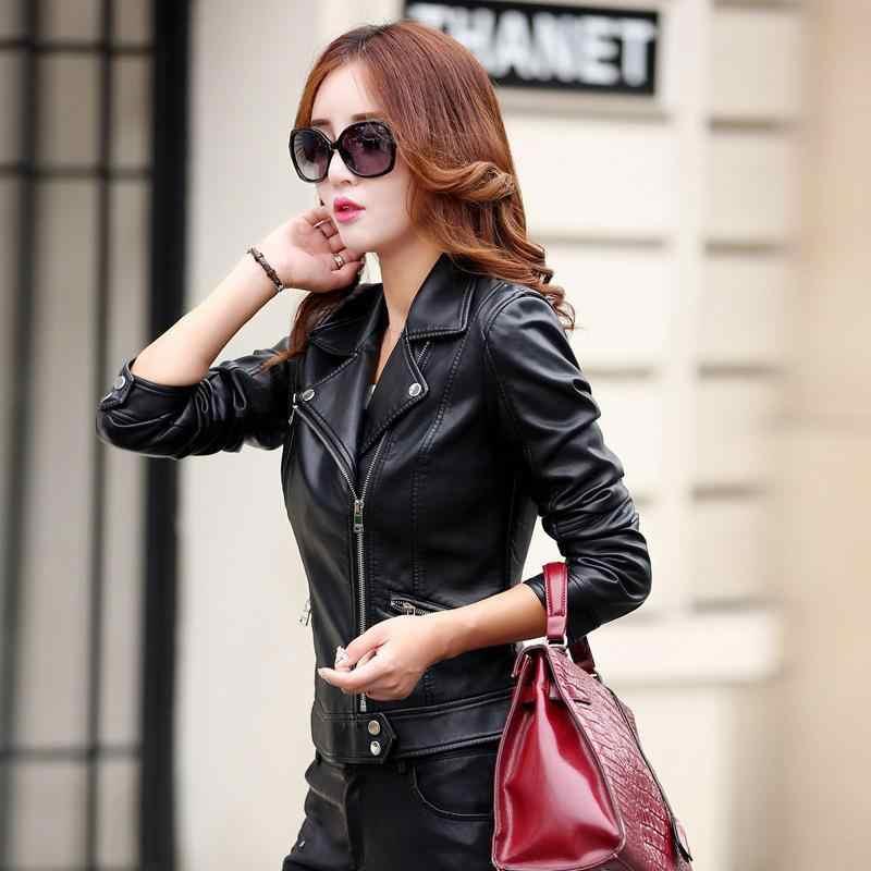 Kobiety moda krótki Plus rozmiar Faux skórzana kurtka jesień 2019 nowe panie skręcić w dół kołnierz Biker Zipper kurtki ze sztucznej skóry płaszcz