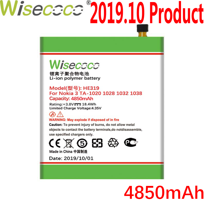 WISECOCO 4850mAh HE319 Battery For <font><b>Nokia</b></font> <font><b>3</b></font> TA-1020 <font><b>1028</b></font> 1032 1038 Mobile Phone In Stock Latest Production With Tracking Number image