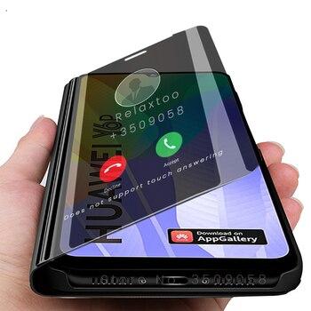 Перейти на Алиэкспресс и купить Для Huawei y6p 2020 чехлы Смарт зеркало флип чехол для Huawei y 6p 2020 y6p2020 huaweiy6p med-lx9 med-lx9n 6,3 ''чехол-подставка