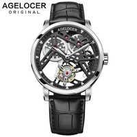 AGELOCER nuevo reloj Tourbillon Original suizo reserva de energía para hombres 80 marca superior reloj de zafiro esqueleto reloj Masculino