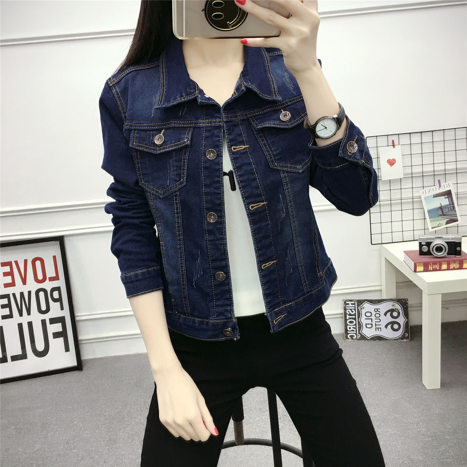 2019 Spring Autumn New Korean Jeans Short   Jacket   Girl Students Simple All-match   Basic     Jackets   Blue Denim Coat Jaqueta Feminina