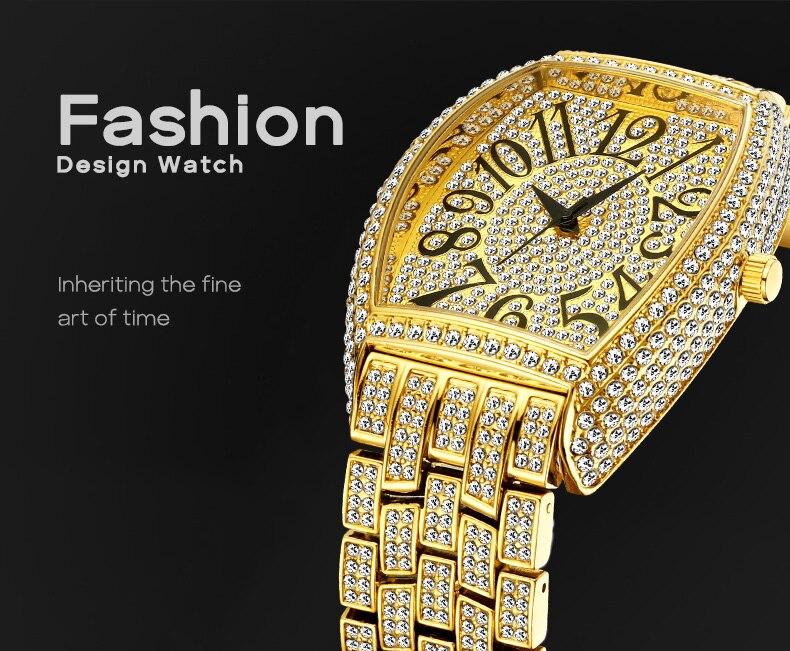 Missfox rosa ouro relógio masculino de luxo