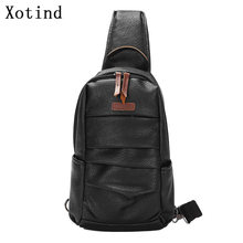 Brand Men's Chest Bag PU Leather Men Shoulder Bags 2019 New Fashion Chest Pack Male High Quality Casual Crossbody Messenger Bags(China)