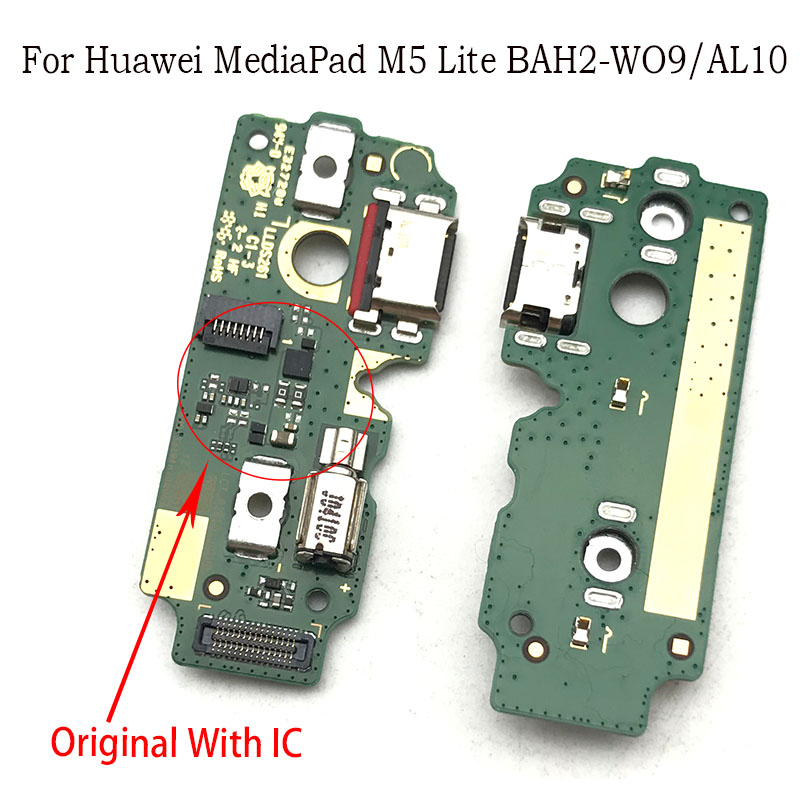 USB Port Charger Dock Plug Connector Charging Board FLex Cable Mic Microphone Board For Huawei Mediapad M5 Lite BAH2-W09/AL10