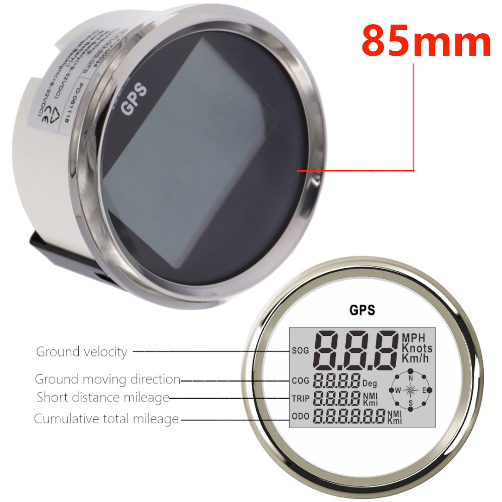 Compteur de vitesse GPS numérique de bateau de voiture de 85mm odomètre 0 ~ 999 noeuds mi/h jauge de vitesse GPS réglable 12 V/24 V avec rétro-éclairage pour moteur