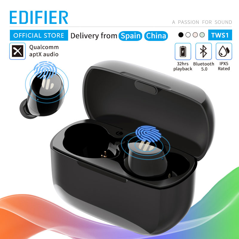 EDIFIER TWS1 TWS Earbuds Bluetooth v5.0 aptX Touch control IPX5 rated Ergonomic design wireless earphones Bluetooth earphone