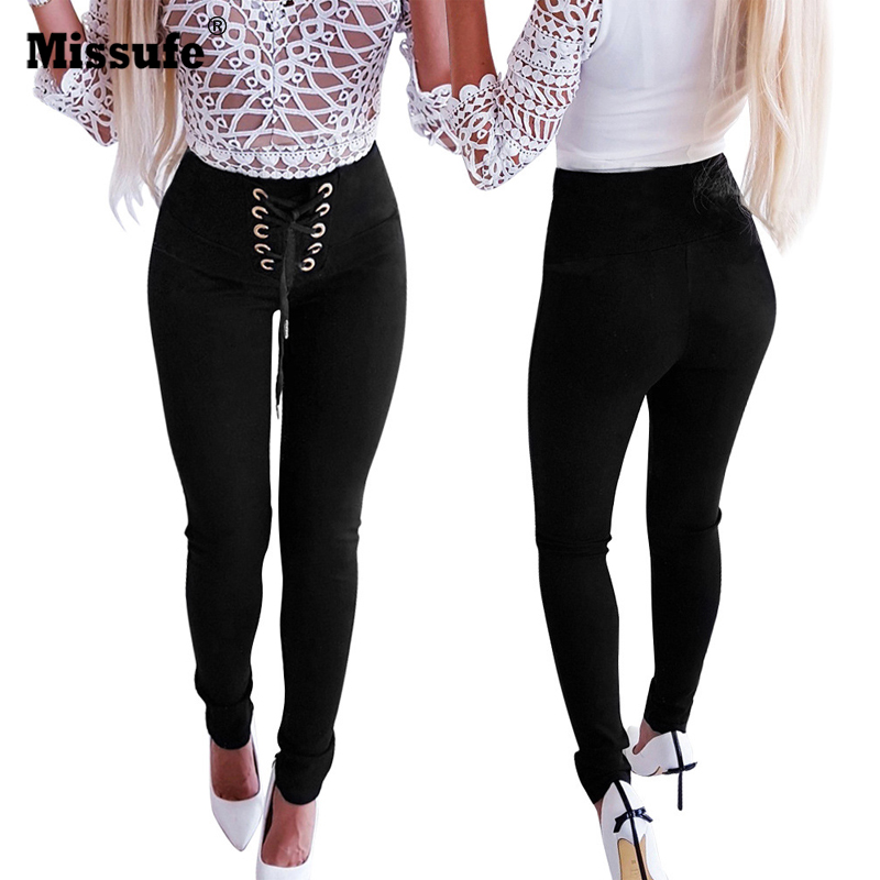 High Waist Skinny Legging Pencil Pant Trousers Suede Bandage Lace Up Slim
