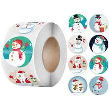 500 шт/рулон наклейка снеговик Рождественский подарок коробка