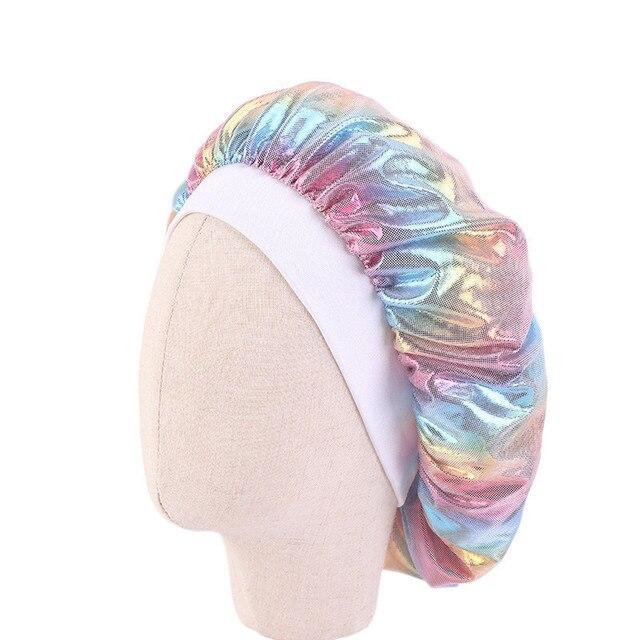 Купить детская атласная широкая шапочка шелковая лазерная шапка для картинки цена