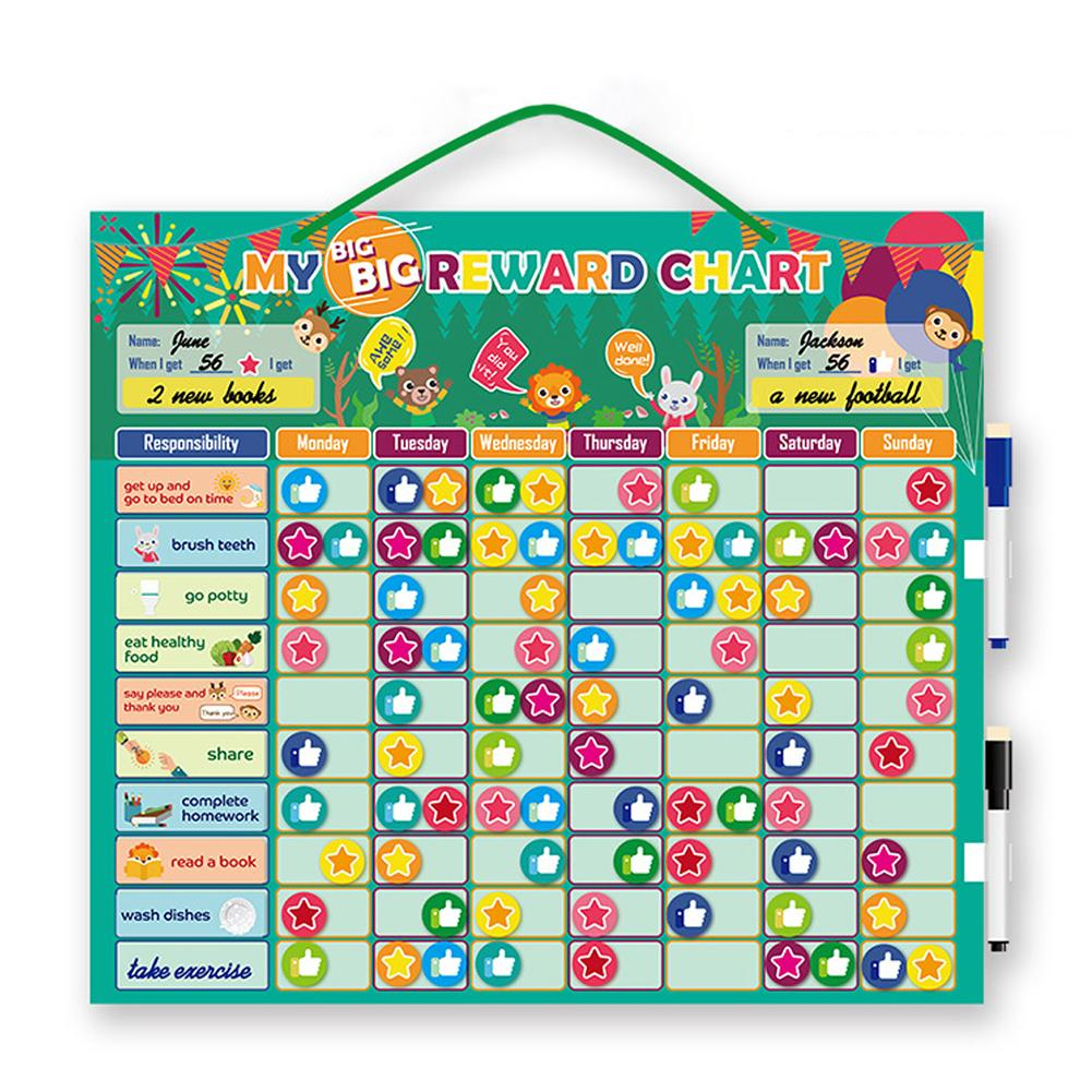 Magnetic Responsibility Chart Chore Star Reward Chart Good Behavior Development Chart Educational Toys For Toddlers Kids