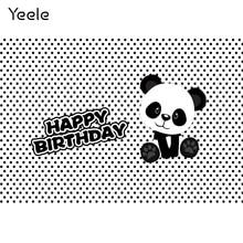 Yeele 팬더 파티 발자국 Photocall 아기 생일 사진 배경 사진 스튜디오에 대한 사용자 지정 사진 배경