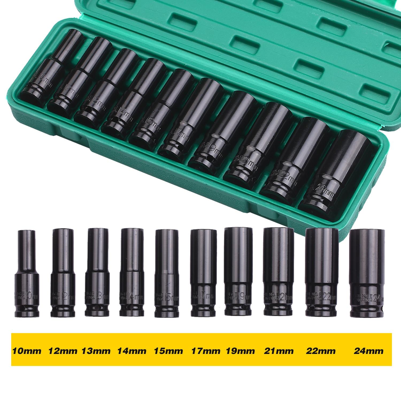 1/2 дюймовый накопитель 6-точечный Ударный комплект 10 шт. метрический размеров на возраст 10-24mm углеродная Сталь с жесткий ящик для хранения, н...