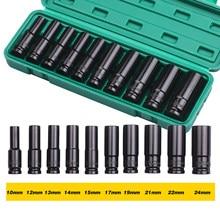 Jeu de douilles à chocs à 6 points d'entraînement 1/2 pouces, 10 pièces, tailles métriques 10-24mm en acier au carbone avec boîte de rangement rigide, ensemble d'outils à main