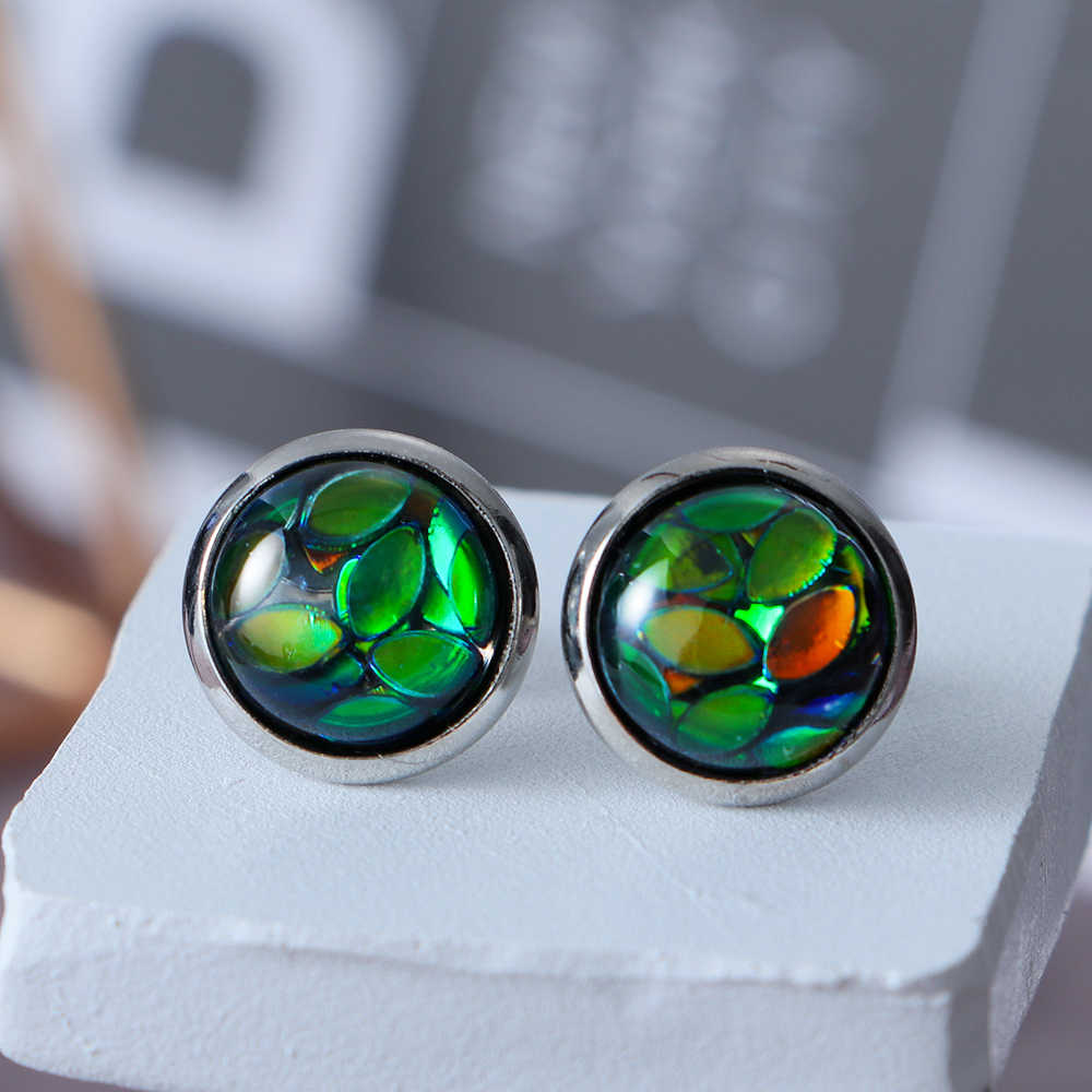 Nowa moda 6 para 12mm Druzy Opal oko konia kolorowe stadniny kolczyki imitacja klejnot biżuteria kolczyki dla kobiet sprzedaż hurtowa brincos