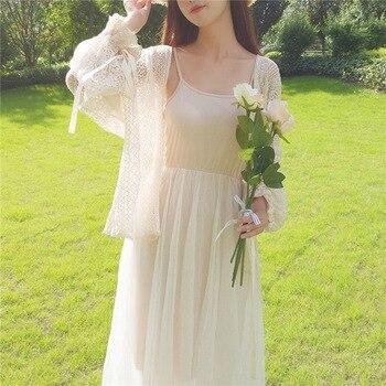 Women Lace Hollow Out Blouse Summer Fashion Cardigan Long Sleeve Women Sunscreen Rk