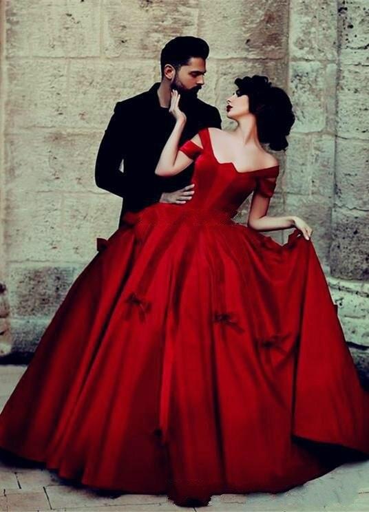 Vestidos De Festa Longos 2018 Elegant Ball Gown Evening Red Taffeta Short Sleeves Sexy Vintage Women Mother Of The Bride Dresses