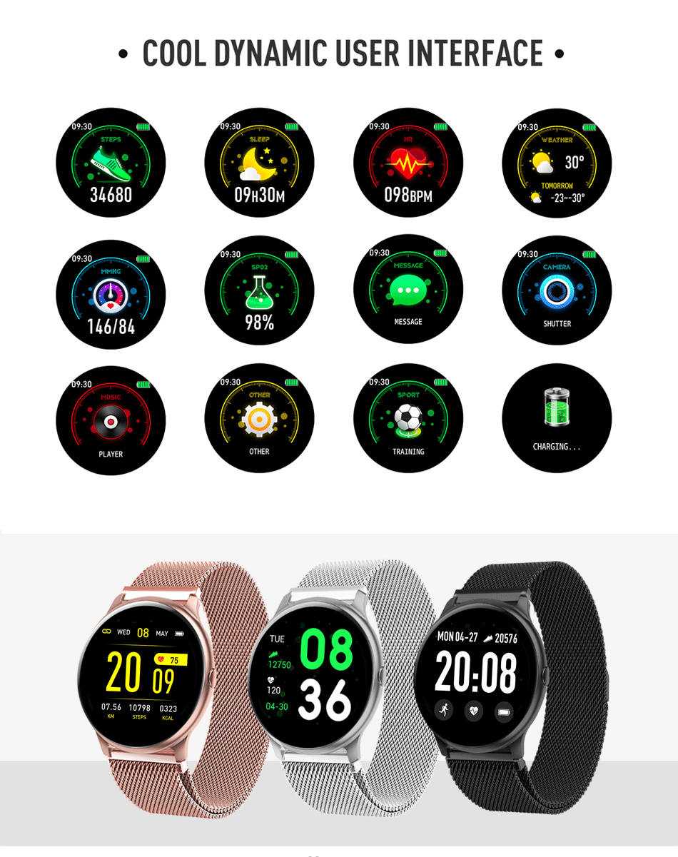 LIGE 2020 New Color Screen Smart Watch Women men Multifunctional Sport Heart Rate Blood Pressure IP67 Waterproof Smartwatch+Box