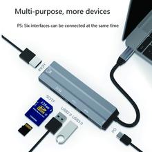 Typ C 6 w 1 USB-C HUB 4K HD Video Audio Cable Adapte laptopy domowe laptopy czytnik kart ładowania z SD czytnik kart tf typ C tanie tanio GRWIBEOU TYPE-C HDMI Męski-żeński Pakiet 1 type-c 6 IN 1 Type C Adapter cable