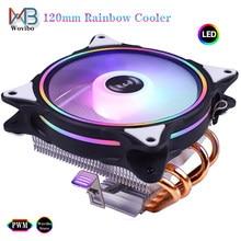 4 теплопроводов холодильник Процессор радиатор 120 мм RGB низкий профиль вентилятор PWM 4PIN LGA 775 1155 1150 1151 1200 1366 2011 X79 X99 AM4 Ventilador