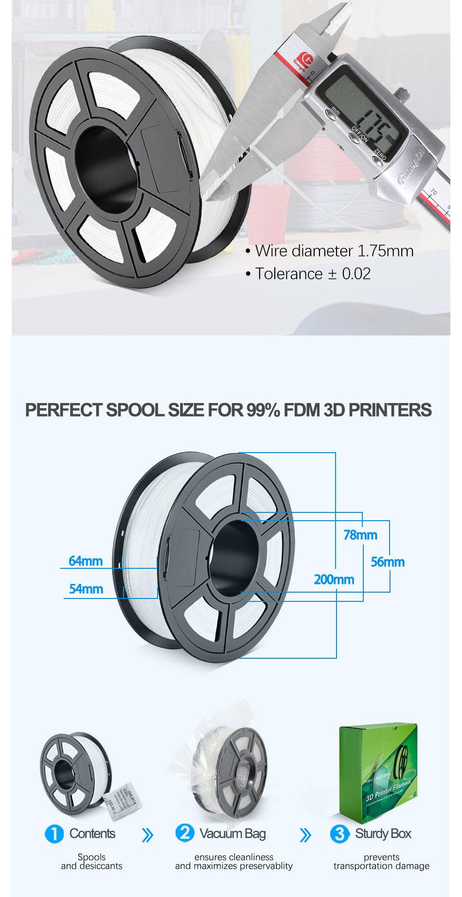 SUNLU PA Nylon 3D Printer Filament Made with High Tensile Strength Nylon