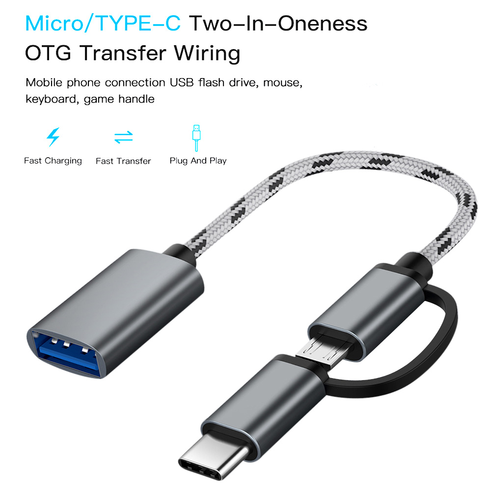 2 In 1 Fast Transfer Connector Converter Type-C Male +miniature USB Male To 3.0 Interface Female OTG Adapter Cable