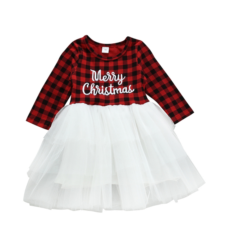 <font><b>Girls</b></font> <font><b>Dress</b></font> Long Sleeve Christmas Letter Print <font><b>Dress</b></font> Cotton Plaid Mesh For <font><b>Baby</b></font> <font><b>3</b></font> Months To <font><b>3</b></font> <font><b>Years</b></font> Old image
