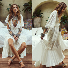 Women Lace Patchwork Holiday Maxi Dresses White Cotton Sexy Plunging Neck Swim Cover Up Tunics Lady Elegant Beach Sundress Robe plunging neck lace splicing dress