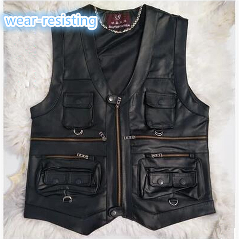 2019 New Gentlement Leather Vest Male Slim Commercial Male Leather Vest Sheepskin Leather Men Vest Waistcoat With Many Pockets