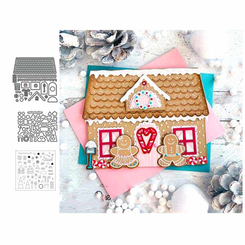 Christmas house Metal cutting dies and Clear Stamps Transparent Silicone Seal for DIY scrapbooking photo album Decorative
