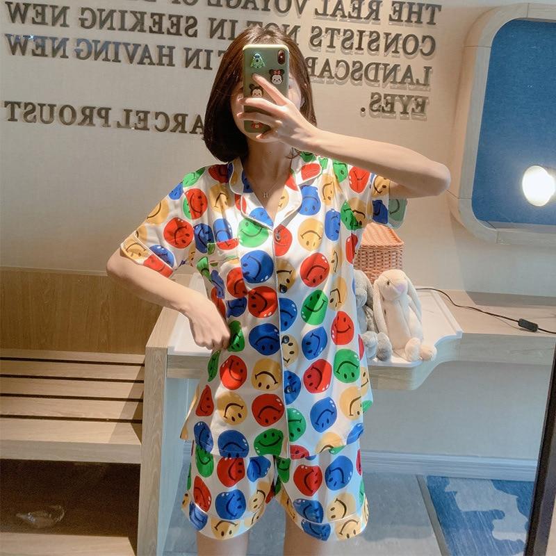 Women's Pajamas With Shorts 2020 Summer Korean Version Of The New Milk Pajamas Female Sweet Cartoon Lapel Suit Home Service