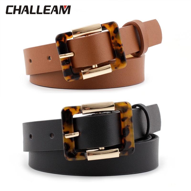 Luxury Leopard Belt Women Black Brown PU Leather Belt Women Dress Adjustable Belt High Quality 388
