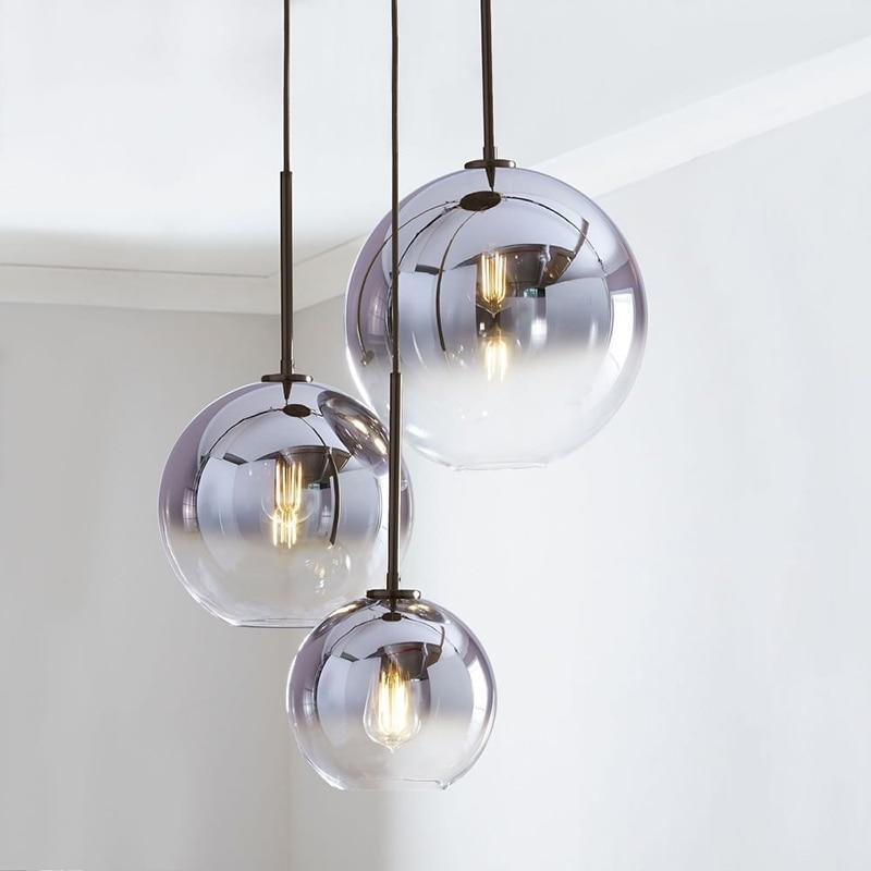 Nordic Glass Ball Pendant Light Gradient Color Hanging Lamp Living Room Bedroom Bedside Bar  ALI88
