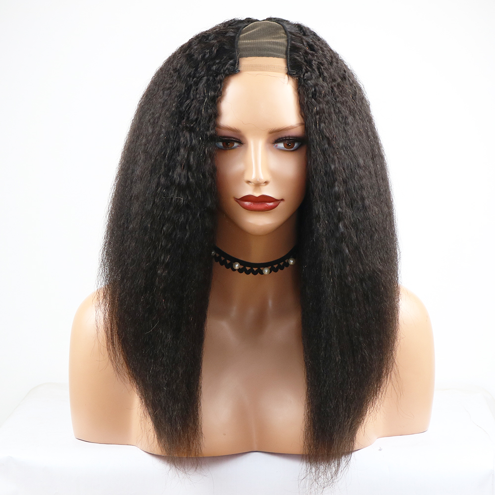 Eversilky 2x4 Middle Open 100% Human Hair Afro Yaki Straight U Part Wigs Peruvian Remy Hair Bob Wigs For Women Natural Black